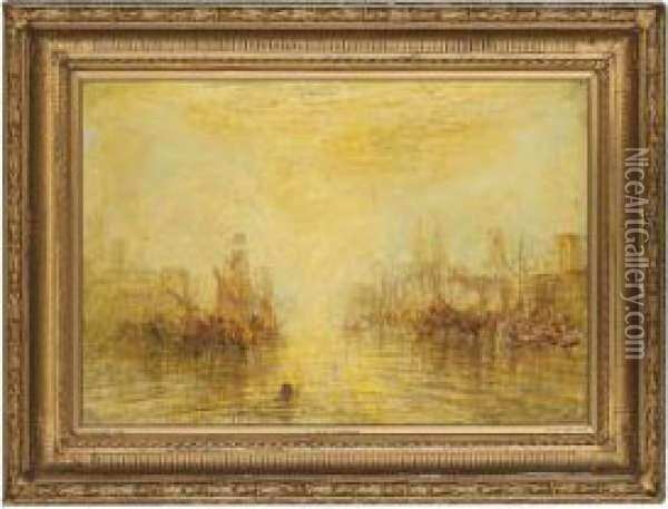 Ships At Sunset Oil Painting - Joseph Mallord William Turner