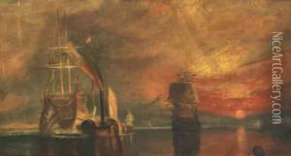 A Harbour Scene With Sailing Boats And Steam Vessel Oil Painting - Joseph Mallord William Turner