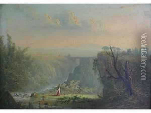 Extensive Italianate Landscape With A Waterfall Oil Painting - Joseph Mallord William Turner