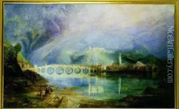 An Extensive River Landscape Oil Painting - Joseph Mallord William Turner