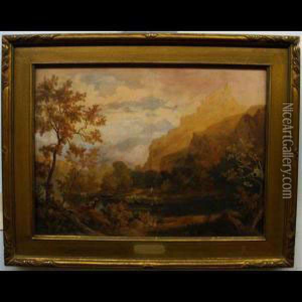 Italianate Landscape With Sheep Herder Oil Painting - William Turner