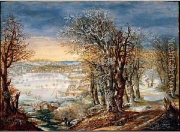 A Winter Landscape In The Foret De Soignes, With The Flight Into Egypt Oil Painting - Denys Van Alsloot