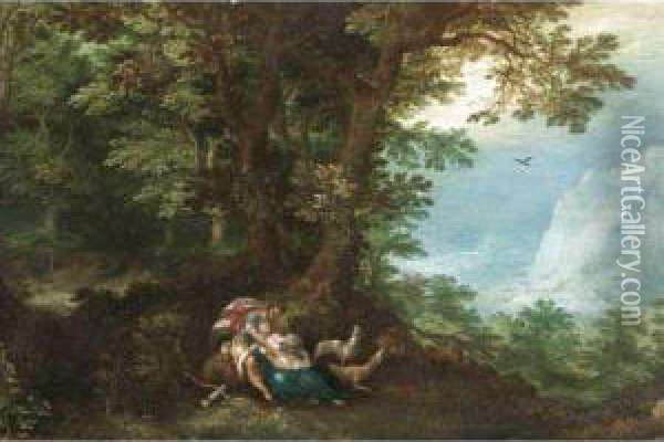 An Extensive Wooded Landscape With Cephalus And Procris Oil Painting - Denys Van Alsloot