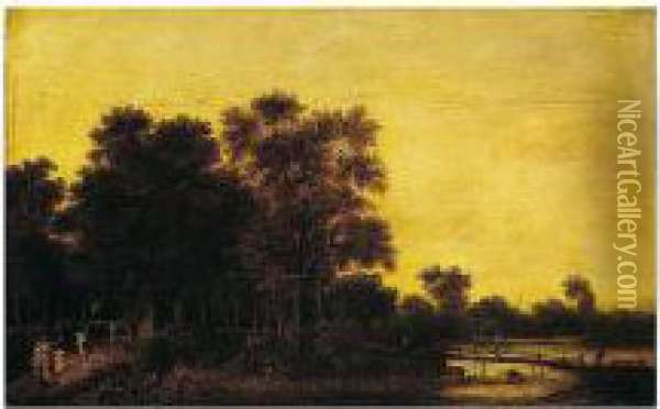 A Wooded River Landscape With Figures On A Path And A Goatherd By A Wooden Bridge Oil Painting - Pieter Jansz. van Asch