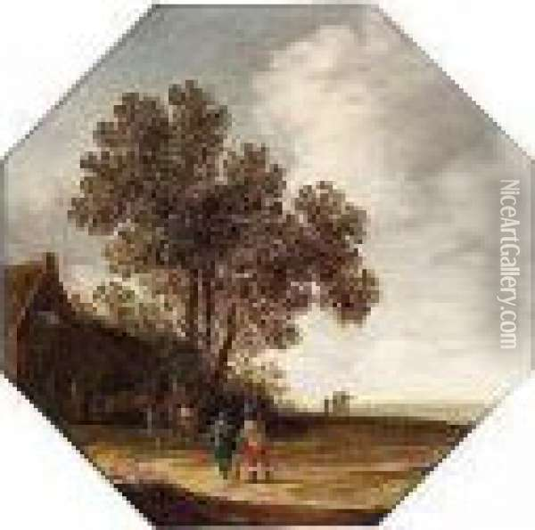 Landscape With Travellers Outside An Inn Oil Painting - Pieter Jansz. van Asch