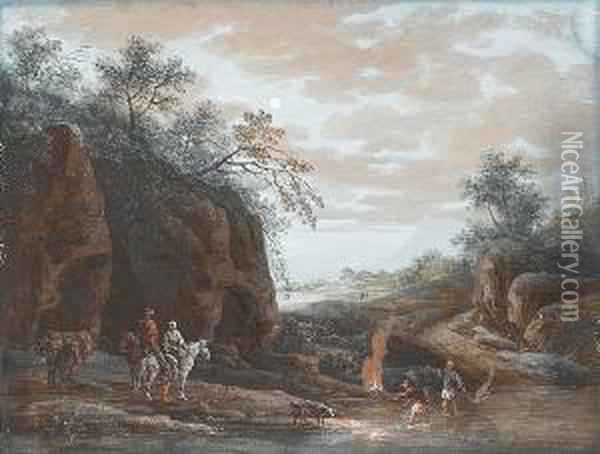 A Rocky River Landscape With Travellers Watering Their Horses At The Mouth Of A Cave Oil Painting - Louis Nicolael van Blarenberghe