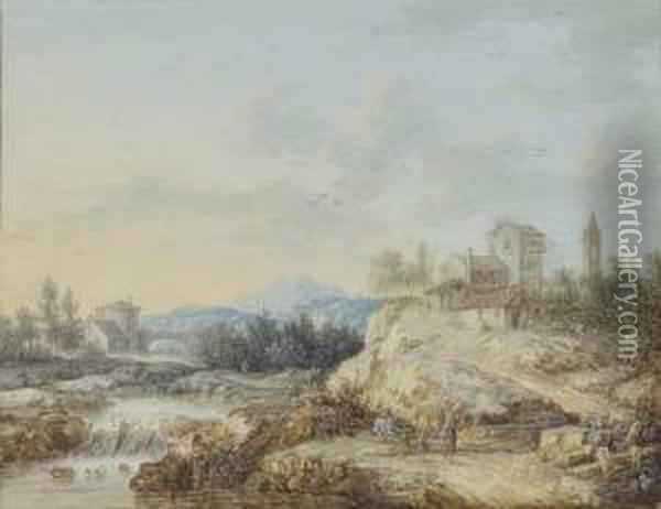 Landscape With A Couple And Two Children Oil Painting - Louis Nicolael van Blarenberghe