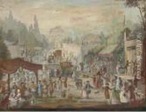 A Country Fair Oil Painting - Louis Nicolael van Blarenberghe