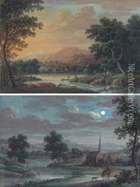 A River Landscape At Sunset With