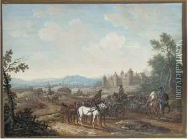 A Column Of Mounted Artillery  With A Castle In The Background; Andcavalry Crossing A Stream With A  Tree To The Left Oil Painting - Louis Nicolael van Blarenberghe