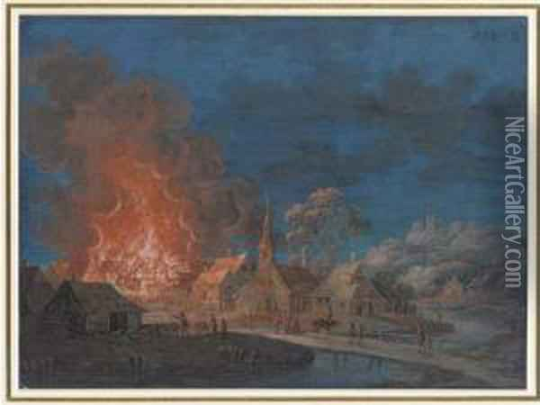 A Village On Fire By Moonlight; And A Village On Fire At Night By Ariver Oil Painting - Louis Nicolael van Blarenberghe
