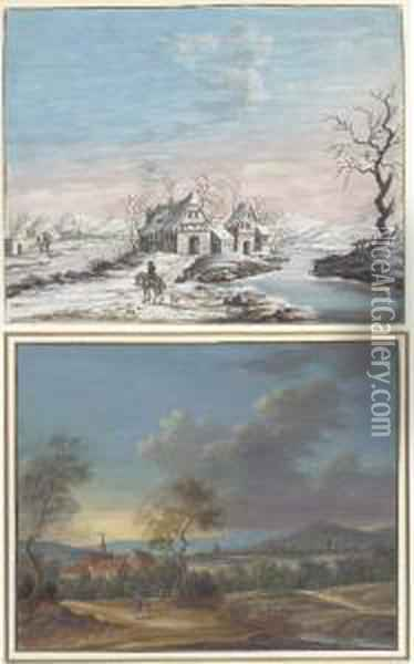 The Four Seasons: Houses By A  Frozen River; A Cloudy Extensivelandscape; Overgrown Ruins By A River;  And A Sunlit Riverlandscape Oil Painting - Louis Nicolael van Blarenberghe
