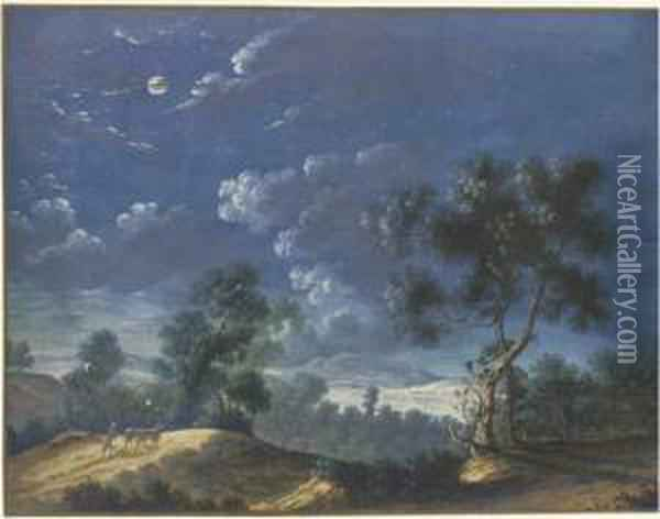 A Moonlit Landscape With A  Figure Leading Two Cattle, A Lake In Thedistance; And A Moonlit River  Landscape With A Town In Thedistance Oil Painting - Louis Nicolael van Blarenberghe