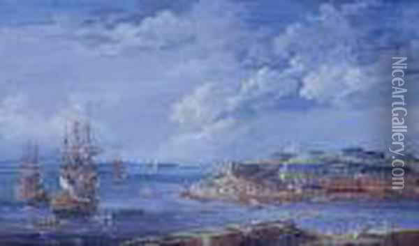 Brest With The Batterie Royale And Men O'war In The Bay Oil Painting - Louis Nicolael van Blarenberghe