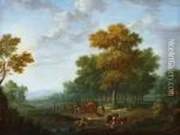 Landscape Withtravellers By Foot  And Horse-drawn Cart. In The Front A Shepardwith His Sheep, A Castle At  The Horizon Oil Painting - Joseph van Bredael