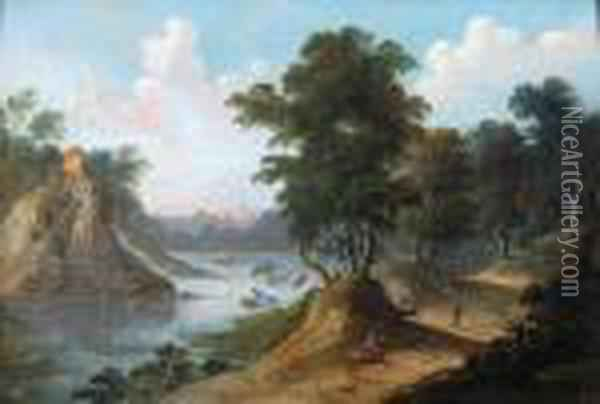 A River Landscape With A Horseman On The Road Oil Painting - Joseph van Bredael