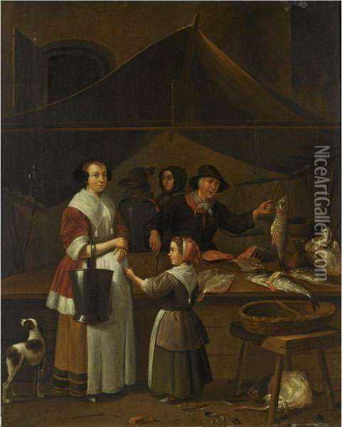 A Woman And A Young Girl Buying Fish At A Market Stall Oil Painting - Quiringh Gerritsz. van Brekelenkam