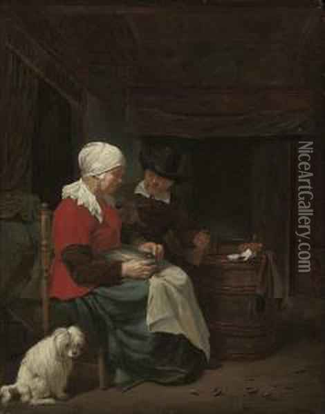 A Couple Seated In An Interior With A Dog Oil Painting - Quiringh Gerritsz. van Brekelenkam