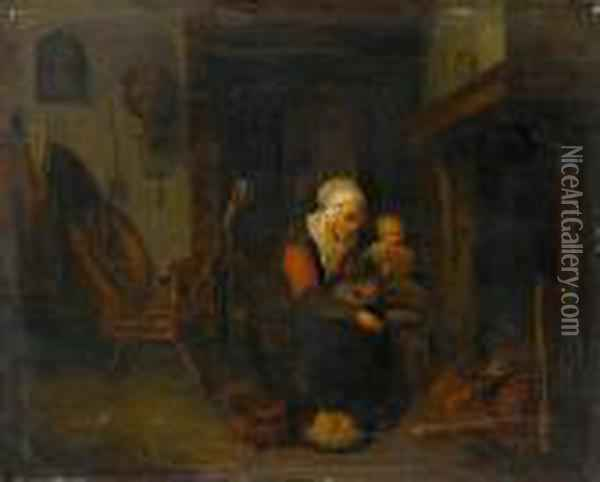A Kitchen Interior With A Woman And Her Childby A Stove Oil Painting - Quiringh Gerritsz. van Brekelenkam