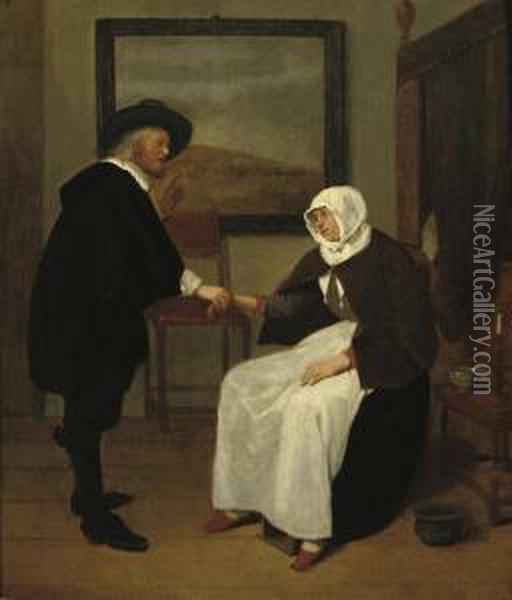 A Doctor Feeling A Woman's Pulse Oil Painting - Quiringh Gerritsz. van Brekelenkam
