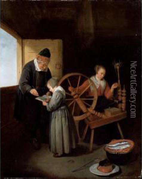 Interior With A School Master  Teaching A Young Girl To Read Another Girl At A  Spinning Wheel Oil Painting - Quiringh Gerritsz. van Brekelenkam