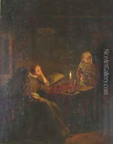 A Woman Resting At A Table In A Candlelit Interior, Another Bearing A Clay Pot Nearby Oil Painting - Quiringh Gerritsz. van Brekelenkam