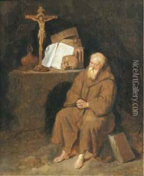 A Hermit Seated By An Altar In A Grotto Oil Painting - Quiringh Gerritsz. van Brekelenkam