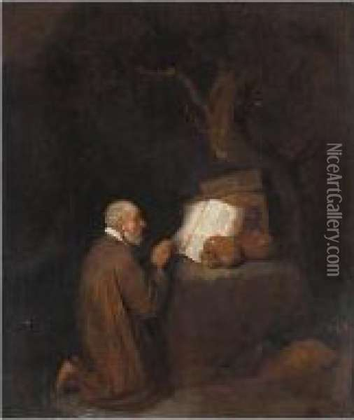 A Study Of A Hermit Kneeling Before An Open Book And Skulls Oil Painting - Quiringh Gerritsz. van Brekelenkam