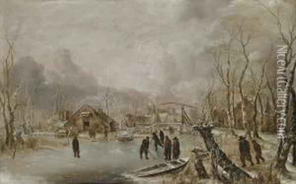 Winter Landscape With Skaters And Kolf Players On A Frozen Waterwayby A Village Oil Painting - Jan Van De Capelle