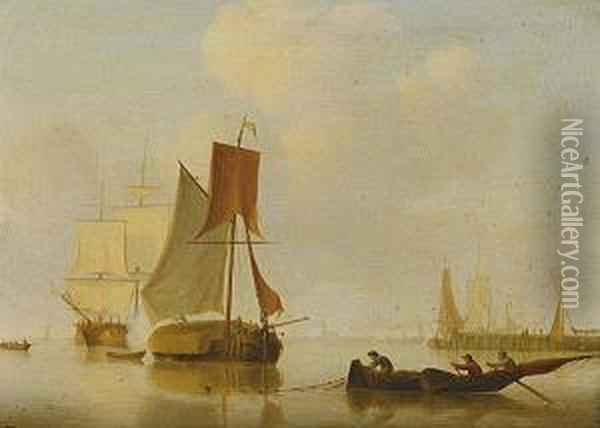 I) Dutch Shipping And Fishing Boatsin A Calm Ii) Dutch Shipping With Figures On A Shore Oil Painting - Jan Van De Capelle
