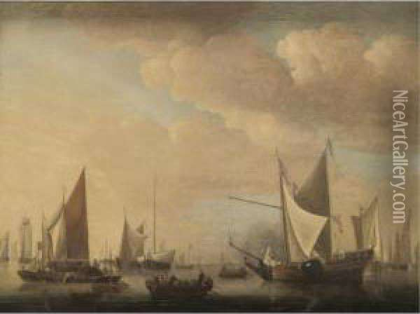 Dutch Shipping Moored In Calm Waters Oil Painting - Jan Van De Capelle