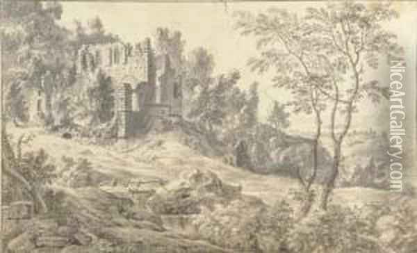 A Ruined Church In A Wooded Landscape Oil Painting - Jan Van De Capelle