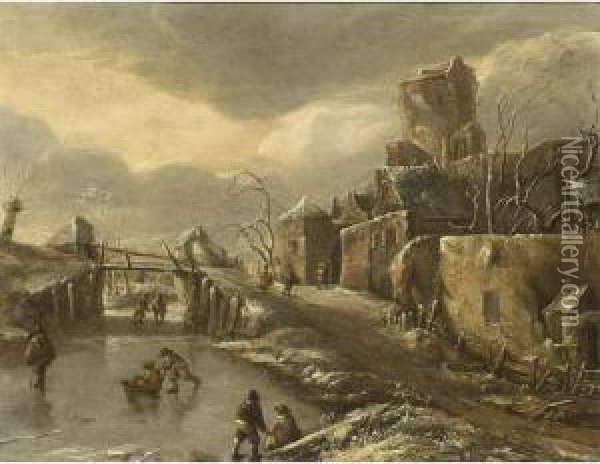 A Winterlandscape With Skaters On The Ice, A Town Beyond Oil Painting - Jan Van De Capelle