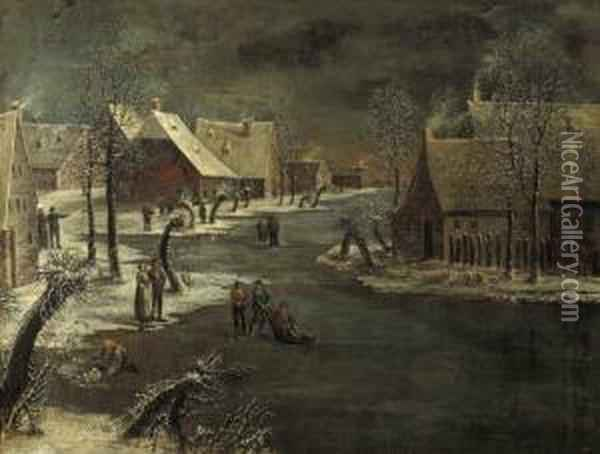 A Winterlandscape With Skaters On A Frozen Waterway In A Village Oil Painting - Jan Van De Capelle