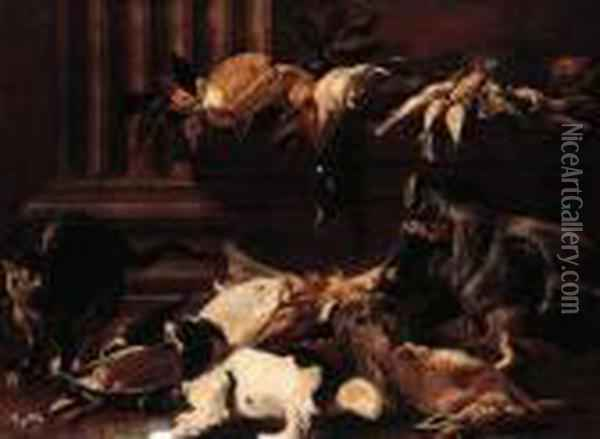 A Boar's Head, A Dead Hare, A  Mallard, Songbirds With A Cat And Aking Charles Spaniel By A Pilaster Oil Painting - Jacob van der (Giacomo da Castello) Kerckhoven