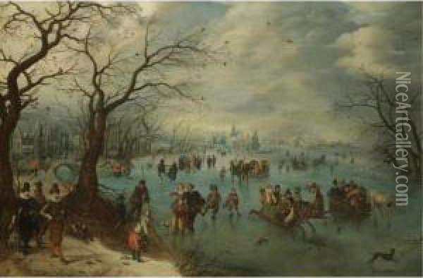 A Winter Landscape With Figures  Skating On A Frozen River, Prince Maurits Of Orange-nassau With A  Hunting Party In The Foreground Oil Painting - Adriaen Pietersz. Van De Venne