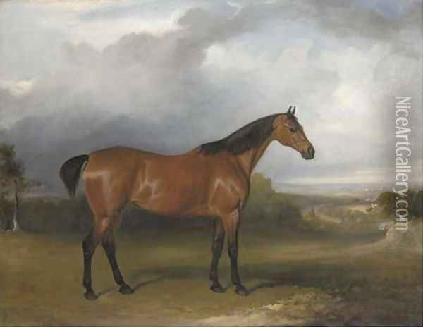 A bay hunter in a landscape with figures and horses by a path in the distance and a town beyond Oil Painting - John Jnr. Ferneley