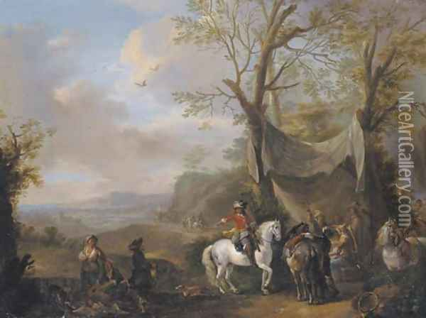 An extensive landscape with a hunting party taking refreshment under an awning Oil Painting - Carel van Falens or Valens