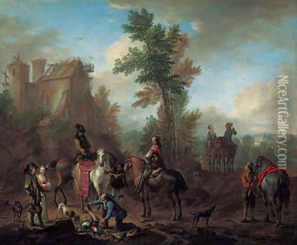 A hunting party halting after the chase Oil Painting - Carel van Falens or Valens