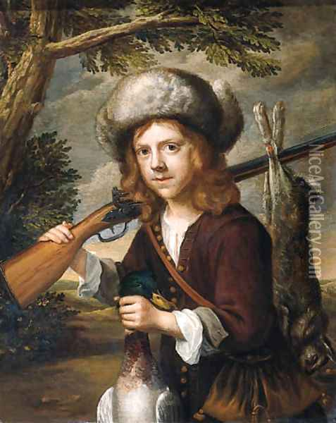 A portrait of a youth, standing three quarter length in a landscape, holding a dead duck and a rifle Oil Painting - Govaert Flinck
