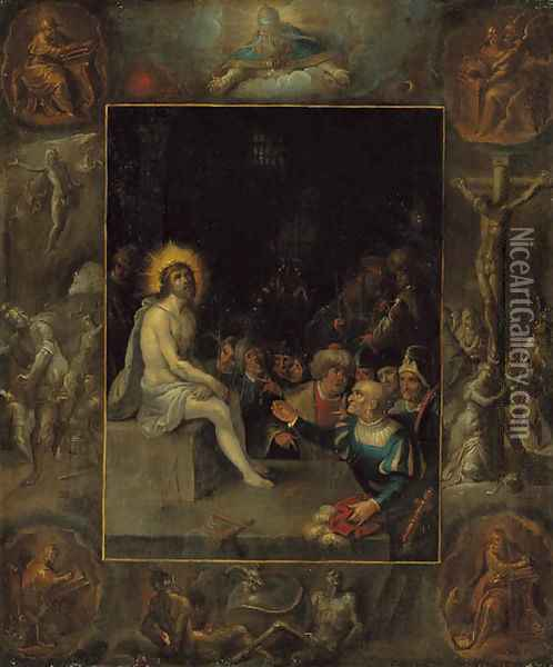 The Mocking of Christ, in a grisaille surround depicting God the Father, the Evangelists, The Crucifixion, The Resurrection and The Devil and Death wi Oil Painting - Frans II Francken