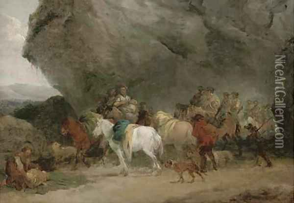 Cavalry men approaching gypsies by a grotto Oil Painting - Jean-Honore Fragonard