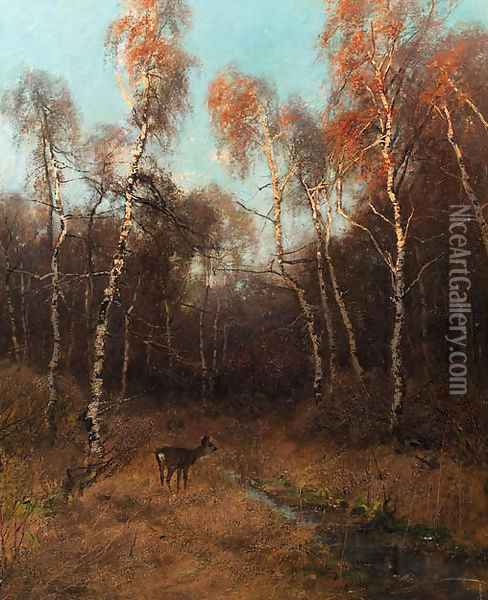 A birch forest with a deer by a stream Oil Painting - August Fink