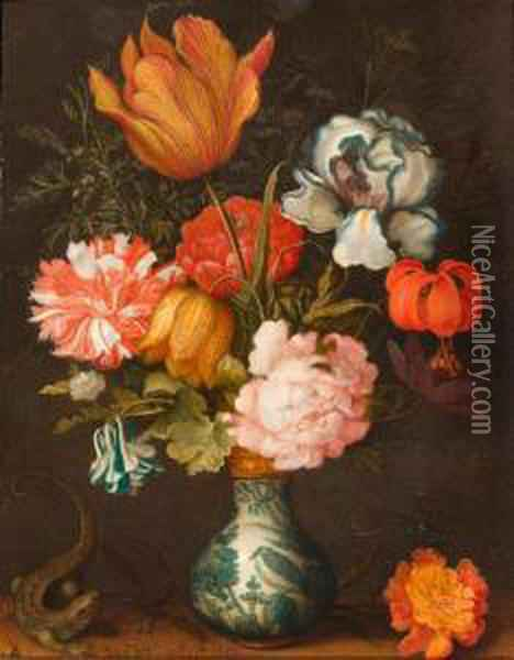 Still Life With Bouquet Of Flowers In A Wan-li Vase And A Lizard Oil Painting - Balthasar Van Der Ast