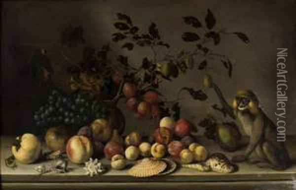 Nature Morte Aux Fruits, Aux Coquillages Et Au Oil Painting - Balthasar Van Der Ast