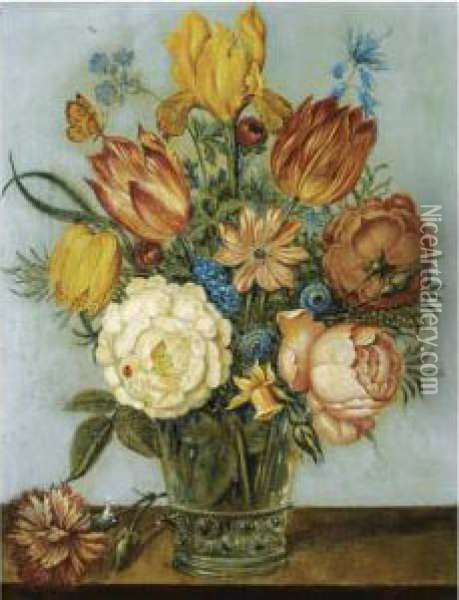 A Still Life With Tulips, Roses,