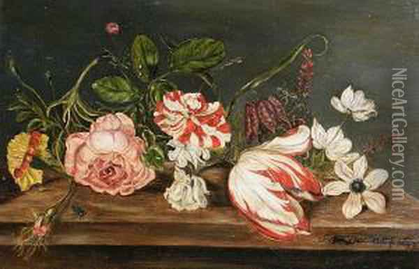 Roses, A Tulip, A Chrysanthemum And Otherflowers On A Table Top Oil Painting - Balthasar Van Der Ast