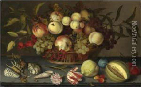 Still Life Of Peaches, Apples,  Grapes, Cherries And Redcurrantsin A Basket, With Sea-shells, Insects, A  Parrot Tulip, A Pink Roseand Further Fruit Scattered On The Stone Ledge  Beneath Oil Painting - Balthasar Van Der Ast