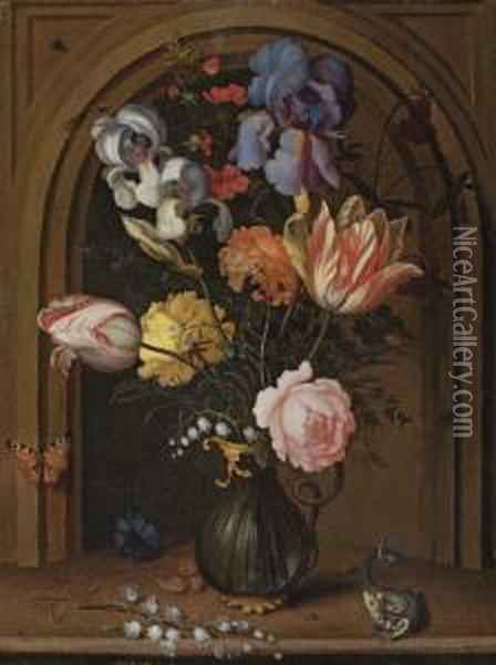 Irises, Tulips, Roses And Lily 