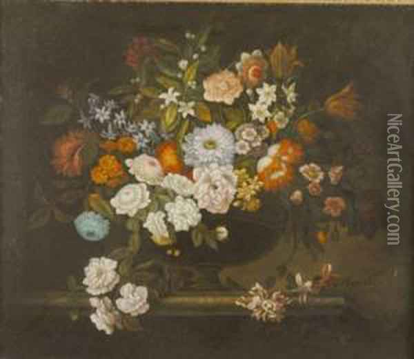 Still Life With Flowers Oil Painting - Balthasar Van Der Ast